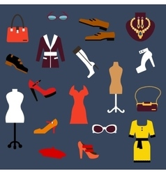 Fashion clothing and accessories flat icons vector image