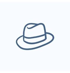Fedora hat sketch icon vector image
