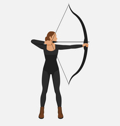 female athlete shoot bow and arrow vector image