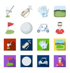 field with a hole and a flag a golf ball a vector image