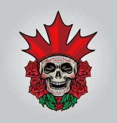flag canada logo sugar skull dia de los muertos vector image