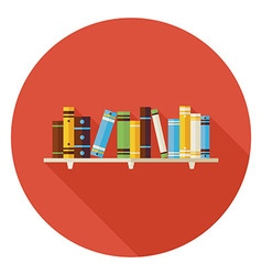 Flat Education Reading Books with Bookshelf Icon vector