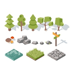 Flat elements nature trees bushes rocks vector