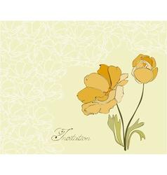 Floral invitation postcard vector