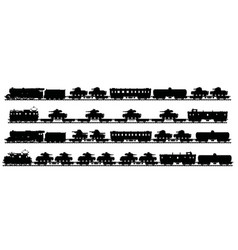Four vintage military trains vector