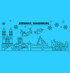 germany magdeburg winter holidays skyline merry vector image