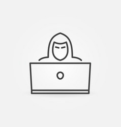 hacker outline icon man with laptop linear vector image