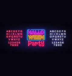 halloween party text happy halloween neon vector image