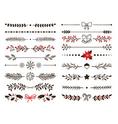 hand drawn ornamental winter dividers snowflakes vector image