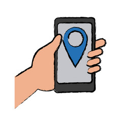 Hand holding cellphone with pin map app vector