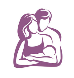 happy family stylized symbol young parents vector image