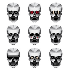 Happy skull emotion icons set vector