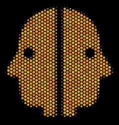 Hexagon halftone dual face icon vector