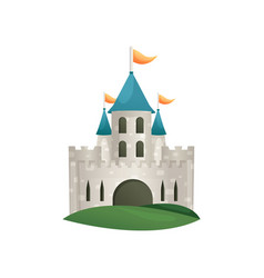 hill stone medieval old castle with blue roof vector image