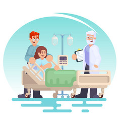 hospitalization of the patient doctor visit to vector image