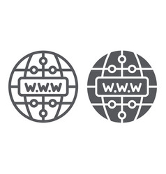 Internet line and glyph icon website and globe vector