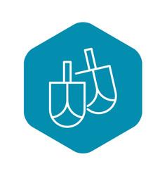 Jewish dreidel icon outline style vector
