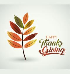 Leaf thanks given design vector