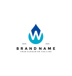 Letter w water drop logo design vector
