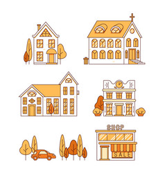 line art set of houses church and shop vector image