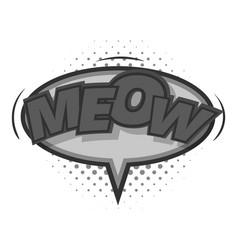 Meow comic speech bubble icon monochrome vector