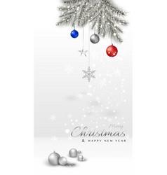 merry christmas minimal with xmas balls and pine vector image