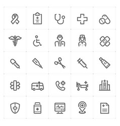 mini icon set - healthcare and medical icon vector image