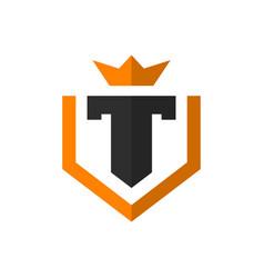 modern t letter shield logo vector image