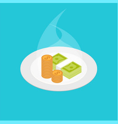 Money on the plate smelling money vector