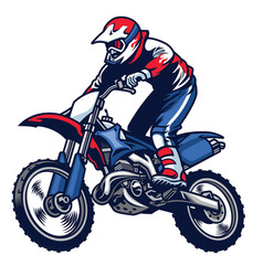Motocross rider ride the motocross bike vector