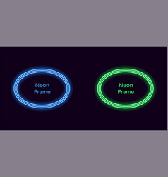 neon oval frame in blue and green color vector image
