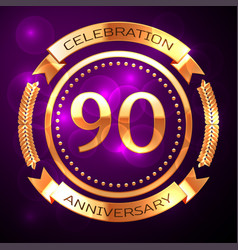 Ninety years anniversary celebration with golden vector