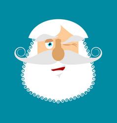 Old man winks emoji senior with gray beard face vector