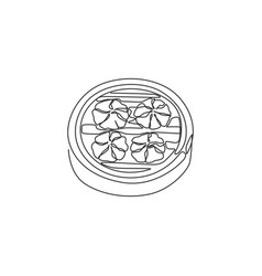one single line drawing fresh chinese dumpling vector image