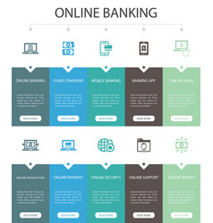 Online banking infographic 10 option ui design vector