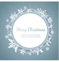 origami snowfall merry christmas greetings card vector image