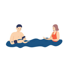 parents teaching child to swim family on vacation vector image