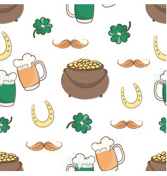 patricks luck saint patrick day cartoon seamless vector image