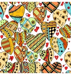 pattern of zentangle hearts vector image