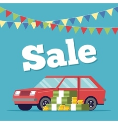 Promotional poster selling cars in the showroom vector image