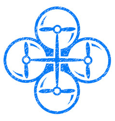 Quad copter grunge icon vector