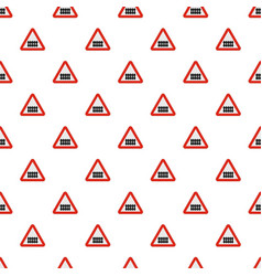 Railroad crossing with a barrier pattern seamless vector