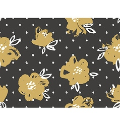 Seamless pattern with gold flowers on the dark vector