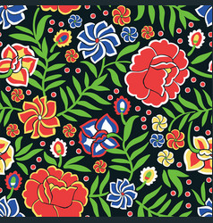 Seamless pattern with ornament in otomi style vector