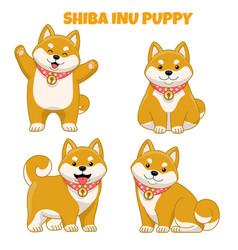 Set cute shiba inu puppy dog vector