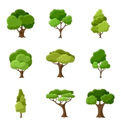 Set of abstract stylized trees vector