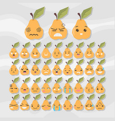 Set of cute fruit smiley pear emoticons vector