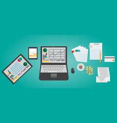 set of flat design of modern business office vector image
