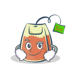 Smirking tea bag character cartoon vector