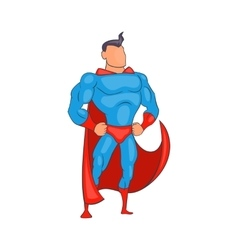 Standing superhero in red cape icon cartoon style vector